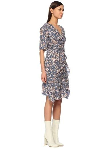 V Yaka Çiçekli Midi Elbise-Etoile İsabel Marant